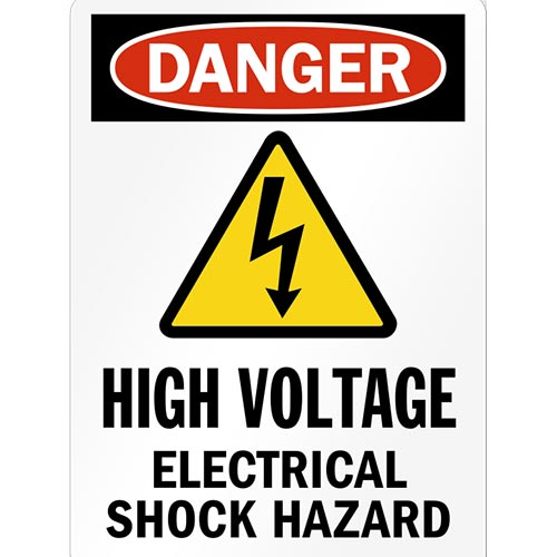 "RAMBU BAHAYA ""DANGER, HIGH VOLTAGE, SHOCK HAZARD"""