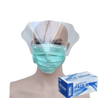 DEVALL Masker 3-Ply with Shield HIJAU Earloop